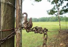 Farm gate with chain latch Royalty Free Stock Image