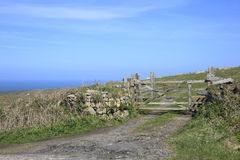 Farm Gate and fields Cornwall England Royalty Free Stock Photo