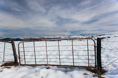 Farm Gate Snow Mountains Royalty Free Stock Photo