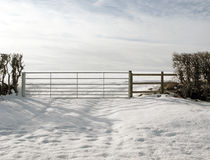 A Farm Gate Snowfall Landscape Scene. Stock Photos