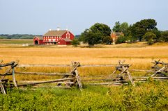 Farm at Gettysburg. A view across a hayfield to a historic American Civil War farm in the middle of the Gettysburg National Battlefield, Gettysburg, Pennsylvania Royalty Free Stock Photography