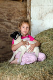 Farm girl with baby goat. An adorable little farm girl in pink overalls holds a new baby goat in the family barn Royalty Free Stock Photography