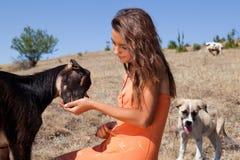 Farm girl in Bulgaria Royalty Free Stock Image