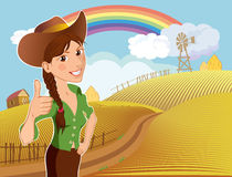 Farm girl cartoon character. Cartoon character of a young girl on a ranch farm after harvest Royalty Free Stock Photos