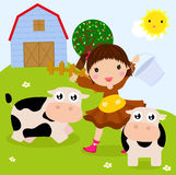 Farm girl and cows Stock Images