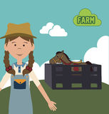 Farm girl design Stock Photos