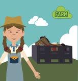 Farm girl design Stock Photos