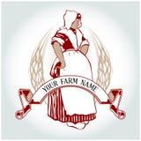 Farm girl emblem. In  cartoon style Royalty Free Stock Image