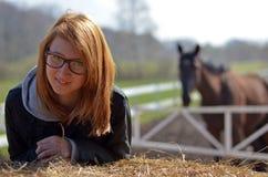 Girl on farm Royalty Free Stock Image