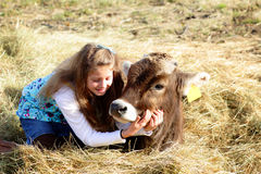 Farm girl and pet cow. A smiling pretty young farm girl with long blond hair, loving her pet calf. Shallow depth of field Royalty Free Stock Image