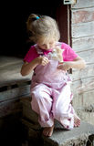 Farm girl trying to hold on to a active kitten. An adorable little farm girl in pink overalls tries to hold on to a very active kitten Royalty Free Stock Image