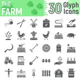 Farm glyph icon set, farming symbols collection,. Vector sketches, logo illustrations, agriculture signs solid pictograms package isolated on white background Stock Photo