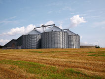 Farm grain silo. Agriculture production image Royalty Free Stock Photo