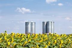 Farm grain silos Stock Photography