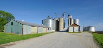 Farm granary. Grain elevators and storage bins (silos) at granary in rural Illinois Stock Image