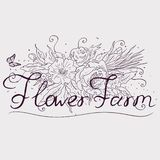 A farm growing flowers. Typographic labels, stickers, logos and badges. vector illustration royalty free illustration