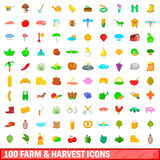 100 farm and harvest icons set, cartoon style Stock Image