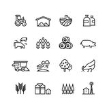 Farm harvest linear vector icons. Agronomy and farming pictograms. Agricultural symbols Stock Photos