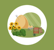 Farm hay vector flat style illustrations summer season. S Stock Image