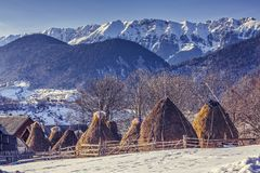 Farm with haystacks in winter. Winter rural landscape with traditional Romanian farm with sheep pen and haystacks near Piatra Craiului massif in Magura village royalty free stock images