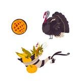 Farm hen turkey, pumpkin pie and cornucopia Stock Image