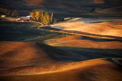 Farm. A farm between the hills in Palouse Washington State Royalty Free Stock Images