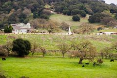 Farm on the hills of south San Francisco bay royalty free stock photography