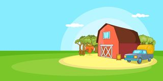 Farm horizontal banner landscape, cartoon style Stock Photography