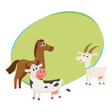 Farm horse, cow and goat grazing upon the green pasture Royalty Free Stock Photo