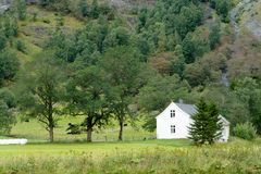 Farm house. The white farm house standing by the trees royalty free stock image