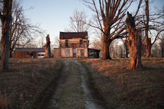 Farm house. Old farm house in warm late afternoon light royalty free stock photo