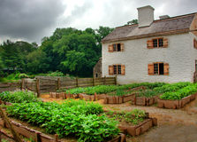 Farm House. Vintage farm house in summer with various crops and flowers stock photo