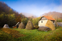 Farm house. Haystacks, autumn colours Stock Photography