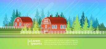 Farm House, Barn Building Field Farmland Countryside Landscape. Flat Vector Illustration Stock Image
