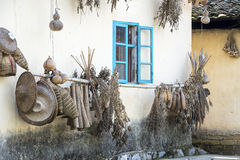 Farm house in China with dried herbs and fruits Royalty Free Stock Image