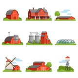 Farm house and constructions set, agriculture industry and countryside buildings vector Illustrations. On a white background Stock Image