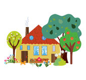Farm house in the countryside cartoon Royalty Free Stock Photography