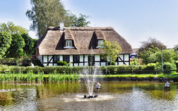 Farm house in Denmark. With pond stock photo