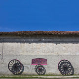 Farm house. Detail of an italian farm house with blue sky Stock Photos