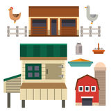 Farm house food outdoor barn building clean meadow natural agriculture animals vector illustration. Royalty Free Stock Images