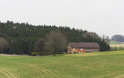 Farm house. On the hill, beautiful landscape Royalty Free Stock Photo