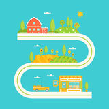 Farm House, Hills and Fields Illustrated Road Map. Agriculture Concept Royalty Free Stock Images