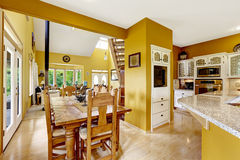 Farm house interior. Dining area in kitchen room Stock Image