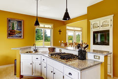 Farm house interior. White ktichen cabinet with granite top Royalty Free Stock Photography