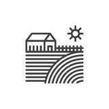 Farm house line icon, outline vector sign, linear style pictogram isolated on white. Symbol, logo illustration. Editable stroke Royalty Free Stock Photo
