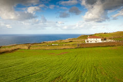 Farm house at the ocean coast, Azores, Portugal. Farm house at the ocean coast under heavy clouds, Azores, Portugal Royalty Free Stock Photos