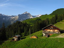 Farm house and Oldenhorn Stock Images