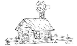 Farm house with windmill. Illustration of farm house with windmill Stock Images