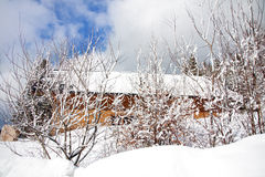 Farm house in winter. Cut off from snow storm Royalty Free Stock Photos