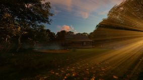 Farm house in the woods and blowing leafs at sunset, panning, 4K. Hd video stock video footage